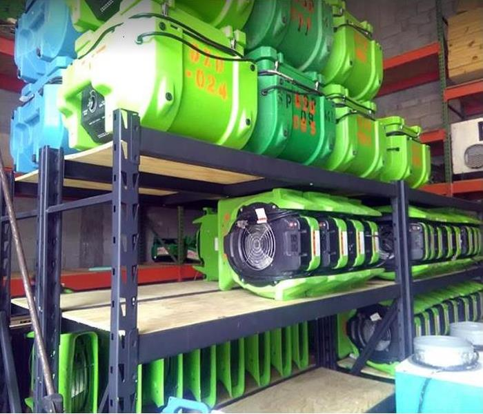 SERVPRO restoration equipment inside storage facility